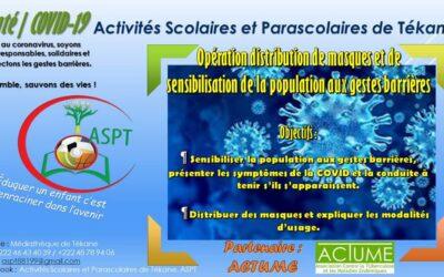 """L'ASPT s'associe à la campagne """"Tous contre la Covid-19 à Tékane"""" en Mauritanie"""