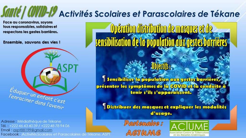 L'ASPT s'associe à la campagne «Tous contre la Covid-19 à Tékane» en Mauritanie